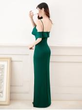 Ruffle Open Back Split Sexy Evening Dresses
