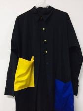 Fashion Single-Breasted Colorblock Shirt Dress