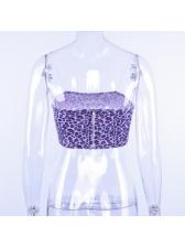 New Arrival Leopard Print Crop Purple Camisole