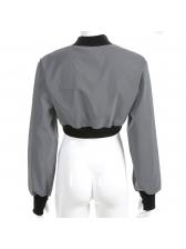 Chic Zipper Irregular Stand Neck Cropped Jackets
