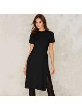Simple Design Slit Short Sleeve Black T-Shirt