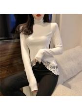 Winter High Neck Irregular Lace Panel Woman Tops