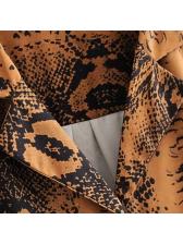 Vintage Snake Print Single-breasted Blouse Design