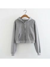Casual Zipper Drawstring Hooded Short Coat