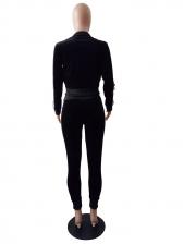 Euro Striped Patchwork Velvet Tracksuit For Women