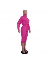 Hot Sale Turndown Neck Zip Solid Jumpsuit For Women