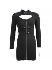 Sexy Zipper Fitted Black Long Sleeve Dress
