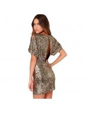 Euro Sequined Backless Short Sleeve Dresses