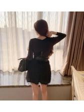 Deep V Neck Patchwork Smart Waist Sexy Dress