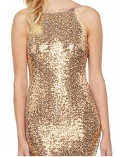 Hot Sale Backless Spaghetti Straps Sequined Evening Dress