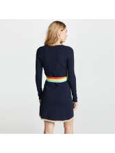 Euro Contrasting Colors Wrap Knitted Dresses