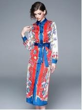 Vintage Printed Contrast Color Binding Bow Shirt Dress
