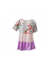 Cross Belt U Neck Ruffled Hem Floral T-Shirt