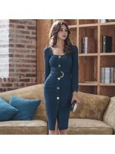 Elegant Single-breasted Square Neck Slit Pencil Dress