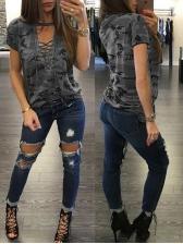 Cross Belt Deep V Neck Camouflage Short Sleeve T-Shirt