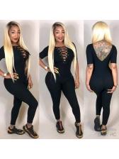 Cross Belt Deep V Neck Backless Black Jumpsuit
