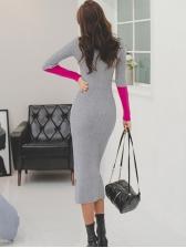 Contrast Color Fitted Turtleneck Slit Knitting Maxi Dress