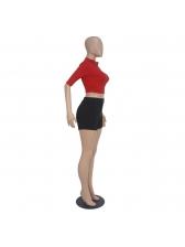Stand Neck Reflective Zipper 2 Piece Shorts Sets