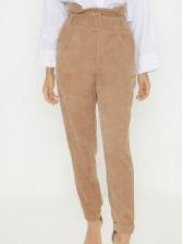 Euro Corduroy High Neck Khaki Pants With Belt