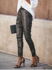 High Waist Pu Patchwork Sequin Jogger Pants For Women