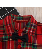 Fashion Plaid Single-breasted Bow Baby Boy Outfits