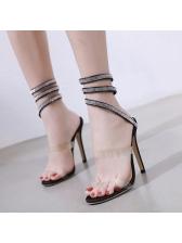 Fashionable Diamond Strappy Heeled Sandals