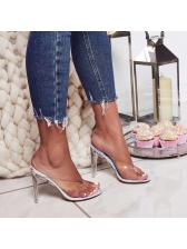 Sexy Clear Heel Flip Flop Heel Slippers