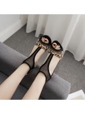 Stylish Leopard Print Patchwork Black Heel Sandals