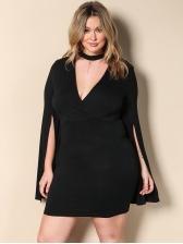 Sexy V Neck Bodycon Black Plus Size Dress