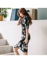 Korean V Neck Floral Fitted Black Dress