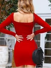 Sexy Square Neck Bodycon Dress