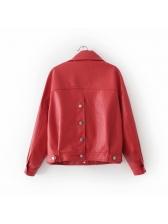 New Arrival Lapel Button Pu Woman Jackets