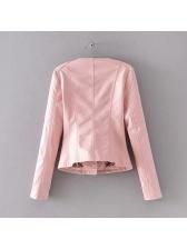Stylish Diamond Pattern Zipper Pu Jackets