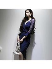 V Neck Lace Patchwork Flare Sleeve Bodycon Dress