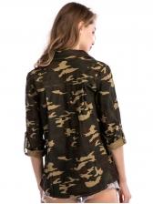 Stylish Camouflage Printed Turndown Neck Blouse
