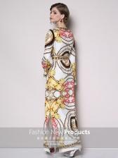 Printed Binding Bow Slit Vintage Maxi Dresses