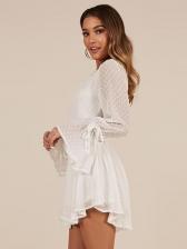 Fashion  Neck Smart Waist Flare Sleeve Romper