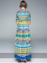 Printed Color Block Turndown Collar Tie-wrap Elegant Dresses