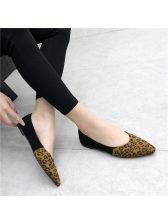 Spring Leopard Printed Patchwork Pointed Flats
