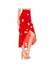 Fashion Hot Sale Floral Ruffled Asymmetrical Skirt