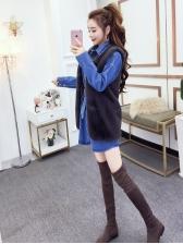 Chic Turndown Collar Denim Dress With Sleeveless Coat