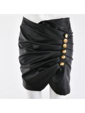 Euro Sexy Buttons Longline Asymmetrical Black Skirt
