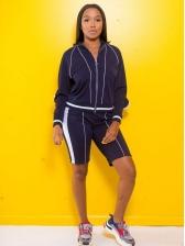 Turndown Neck Contrast Color 2 Piece Shorts Set