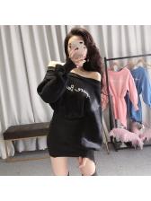 Off The Shoulder Letter Irregular Sweatshirt Dresses