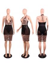 Sequined Patchwork Gauze Deep V Club Dresses