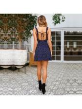 Polka Dot V Neck Open Back Dress