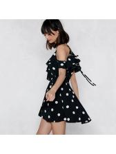 Cold Shoulder V Neck Polka Dot Short Sleeve Mini Dress