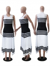 Contrast Color Sleeveless Striped Maxi Dress For Women