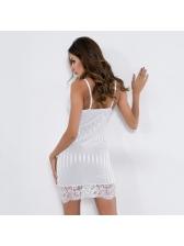 Lace Patchwork Striped V Neck Bodycon Sexy Dress