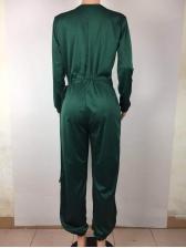V Neck Tie-Wrap Solid Lantern Jumpsuit